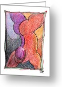 Gymnastics Drawings Greeting Cards - Body 42 Greeting Card by Dan Daulby