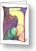 Aboriginal Art Drawings Greeting Cards - Body 49 Greeting Card by Dan Daulby