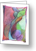 Gymnastics Drawings Greeting Cards - Body 52 Greeting Card by Dan Daulby