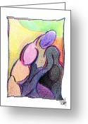 Aboriginal Art Drawings Greeting Cards - Body 53 Greeting Card by Dan Daulby