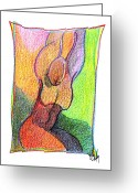 Aboriginal Art Drawings Greeting Cards - Body 54 Greeting Card by Dan Daulby