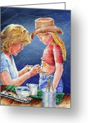 Body Paint Greeting Cards - Body Paint at Hootin and Hollarin Greeting Card by Carolyn Coffey Wallace