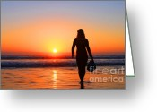 Surf Silhouette Greeting Cards - Bodysurfer at Dusk Greeting Card by Sabino Cruz