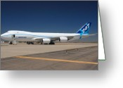 Airplane Greeting Cards - Boeing 747-8 N50217 at Phoenix-Mesa Gateway Airport Greeting Card by Brian Lockett
