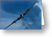 Smoke Greeting Cards - Boeing B-17 Flying Fortress Greeting Card by Adam Romanowicz