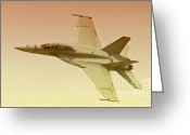Superhornet Greeting Cards - Boeing FA 18 Superhornet  Greeting Card by Gus McCrea