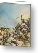 Fighting Painting Greeting Cards - Boers Fighting Natives Greeting Card by James Edwin McConnell