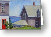 Red Door Greeting Cards - Bogdanov House Monhegan Greeting Card by Thor Wickstrom