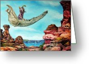 Fantastic Realism Greeting Cards - Bogomils Journey Greeting Card by Otto Rapp