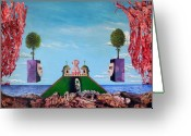 Fantastic Realism Greeting Cards - Bogomils Monastic Retreat Greeting Card by Otto Rapp