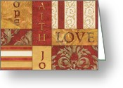 Stripes Greeting Cards - Bohemian Red Spice 1 Greeting Card by Debbie DeWitt