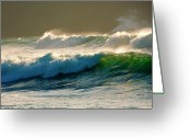Back Light Greeting Cards - Boiler Bay Waves Rolling Greeting Card by Mike  Dawson