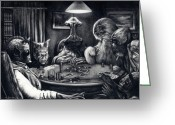 Whiskey Greeting Cards - Bold Bluff - Star Wars Cantina Aliens Greeting Card by Ryan Jones