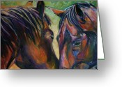 Equines Painting Greeting Cards - Bold Hearts Greeting Card by Diane Williams