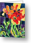 Outdoor Still Life Greeting Cards - Bold Quilted Tulips Greeting Card by Kathy Braud