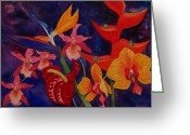 Red Orchid Blooms Greeting Cards - Bold Tropical Flowers Greeting Card by Kerri Ligatich
