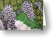 Fine Art Batik Tapestries - Textiles Greeting Cards - Bolero Grapes Greeting Card by Kristine Allphin