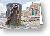 Pennant Greeting Cards - Bollard and Chain Greeting Card by Semmick Photo