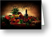 Bon Appetit Greeting Cards - Bon Appetit Greeting Card by Lourry Legarde