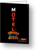 Old Tv Digital Art Greeting Cards - Bonanza Lodge Motel Greeting Card by David Lee Thompson