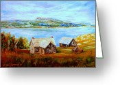Autumn In The Country Painting Greeting Cards - Bonaventure Island And Perce Rock Quebec Landscape And Summer Seascape Greeting Card by Carole Spandau