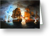 War Greeting Cards - Bonhomme Richard engaging The Serapis in Battle Greeting Card by Paul Walsh