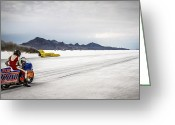 Motorcycle Photo Greeting Cards - Bonneville Speed Week 2012 Greeting Card by Holly Martin