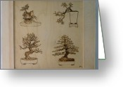 Wood Pyrography Greeting Cards - Bonsai Pyrographic Art Original Panel with Frame by Pigatopia Greeting Card by Shannon Ivins