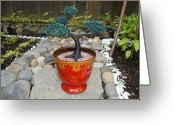 Plant Sculpture Greeting Cards - Bonsai Tree Medium Red Glass Vase Planter Greeting Card by Scott Faucett