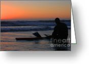 Surf Silhouette Greeting Cards - Boogie Boarder Greeting Card by Sabino Cruz