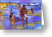 Purples Greeting Cards - Boogieboarding at Sandys Greeting Card by Douglas Simonson