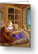 Little Girl Greeting Cards - Book Club Greeting Card by Susan Rinehart