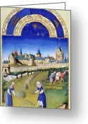 Calendar Greeting Cards - Book Of Hours: June Greeting Card by Granger