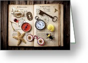 Compass Greeting Cards - Book of mystery Greeting Card by Garry Gay