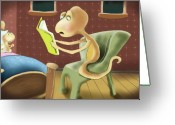 Cartoons Greeting Cards - Book Worms Greeting Card by Hank Nunes