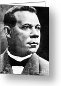 Civil Rights Greeting Cards - Booker T. Washington, African-american Greeting Card by Photo Researchers