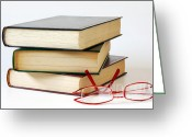 Library Greeting Cards - Books And Glasses Greeting Card by Carlos Caetano