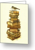 Books Greeting Cards - Books and little Bird Greeting Card by Kestutis Kasparavicius
