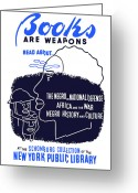 Black History Greeting Cards - Books Are Weapons Greeting Card by War Is Hell Store