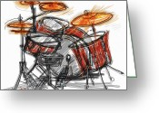 Drum Sticks Greeting Cards - Boom BaBa Boom Greeting Card by Russell Pierce