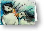 Puffin Mixed Media Greeting Cards - Boop Greeting Card by Sydney Zmitrewicz