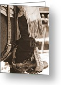 Cowgirl Prints Greeting Cards - Boot in Stirrup - Sepia Greeting Card by Tam Graff