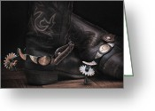 Western Pyrography Greeting Cards - Boots and Spurs Greeting Card by Krasimir Tolev