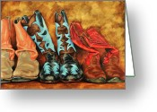Cowgirl Greeting Cards - Boots Greeting Card by Lesley Alexander