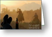 Riding Boots Photo Greeting Cards - Boots n Beer Greeting Card by Jody Miller