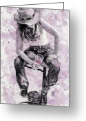 Cowboy Boots Greeting Cards - Boots Off   Evening On Greeting Card by Debra Jones