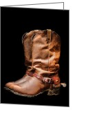 Riding Boots Photo Greeting Cards - Boots on Black Greeting Card by Olivier Le Queinec