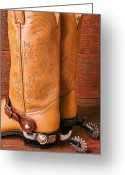 Cowboys Greeting Cards - Boots With Spurs Greeting Card by Garry Gay