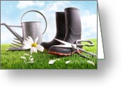 Beginnings Greeting Cards - Boots with watering can and daisy in grass  Greeting Card by Sandra Cunningham