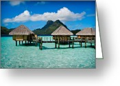 French Polynesia Greeting Cards - Bora Bora Bunaglows Greeting Card by Doug Sturgess